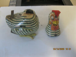 1950's Mikuni Battery Operated Rooster Chicken Tin Litho Toy Japan For Parts