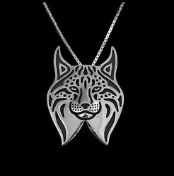 Lynx Cat Silver Charm Pendant Necklace Gifts for Her Friend Gifts