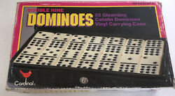 Vintage Cardinal 55 Pc Double Nine Catalin Dominoes Set 511 In Box W/case