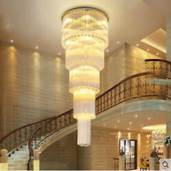 Led Staircase Crystal Chrome Lamp Remote Large Chandelier Light For Living Room