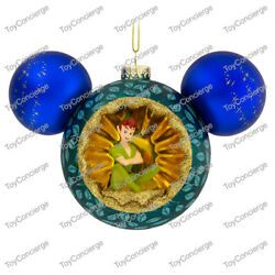 Disney Parks Ornament - Mickey Icon - Glass - Peter Pan And Tinker Bell - Nwt