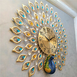 24quot; Luxury Peacock Large Wall Clock 3D Metal Living Room Wall Watch Home Decor