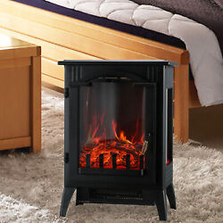 750w/1500w Electric Heater Fireplace Adjust Free Standing Wood Fire Flame Stove