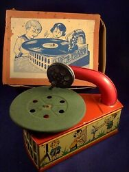 Vintage Old Tin Toys Children Music Phonograph Gramophone Boxed Rare Co 1920-30