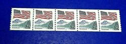 2280a Flag And Yosemite Mottled Tagging Coil Strip Of 5 Plate 6 - Mnh