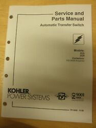 Kohler Service And Parts Manual Automatic Transfer Switch Zcs Zcb - 150-3000 Amp