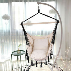Large Patio Hanging Swing Egg Chair Hammock With Cushions Outdoor Chair US