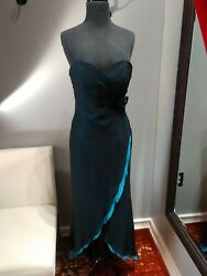 Cache 1980s Blue And Touquise Party Dress. Size 6. Preowned
