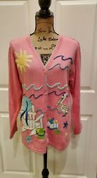 Quacker Factory Cardigan Pink Button Front Embroidered Pelican Sun Beach Small $19.99