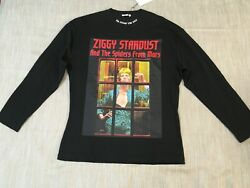 Nwt Ih Nom Uh Nit Black Cotton Jersey Top Long Sleeve Ziggy Stardust S Loose Fit