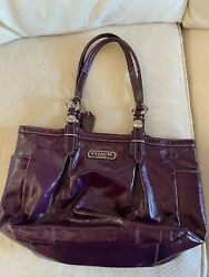 COACH Large Purple Patent Leather Shoulder Bag with Silver Hardware $30.00