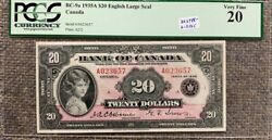 1935 Bank Of Canada 20 Princess Elizabeth Pink Note - Large Seal Pcgs Vf20