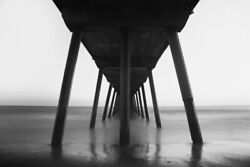 342826 Under Santa Monica Beach Pier Black And White Infrared Exposure Poster Ca