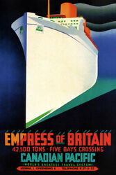 349437 Canadian Pacific Lines Empress Of Britain Ship Ocean Liner Poster Ca