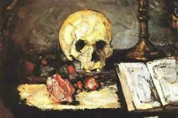 343191 Cezanne Skull And Candlestick Cool Glossy Poster Us