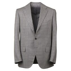 Cesare Attolini Gray And Camel Tan Layered Check Soft Wool Suit 38r Eu 48