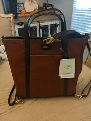 FOSSIL Brown Leather Crossbody Shoulder Tote Satchel Purse Bag Free Shipping $79.99