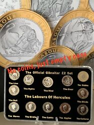 2020 Gibraltar £2 Coin Labours Of Hercules Empty Display Case + Stand No Coins