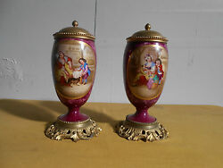 A Pair Of Fine Antique Continental Lided Urns.