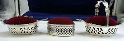 S/3 Sterling Silver Nut Dishes Pin Cushion Gorham Debutant Heart Webster English