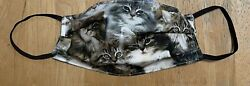 CAT KITTEN Inspired 100% Cotton Fabric Face Mask NEW Double Sided REVERSIBLE