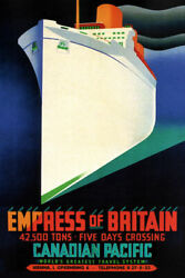 349437 Canadian Pacific Lines Empress Of Britain Ship Ocean Liner Poster Us