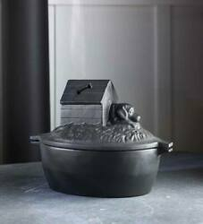 Cast Iron Dog House Wood Stove Steamer Humidifier Black Kettle Vintage Pot 8h