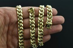 Italian 10k Yellow Gold 10mm Hollow Miami Cuban Link Chain Pendant Necklace 24