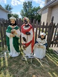 Lot Of 3 Vintage Blow Mold Wiseman Nativity Christmas Large Outdoor Local Pickup