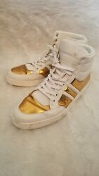 Gucci Men#x27;s Gold White Padded Leather High top Sneakers 11 Italy designer shoes $176.00