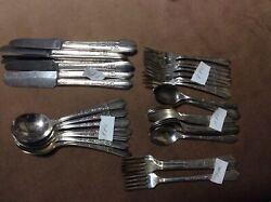 1938 Simeon L And George H Rogers Co Oneida Ltd Floral Ii Silver Plate A1x 46 Pc