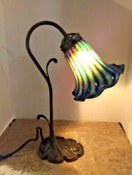 Vtg Repro Art Nouveau Rose Base Reading Lamp With Art Glass Shade Post-1940