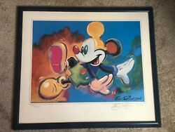 🌟1997 Mickey Mouse Framed Lithograph Eric Robison Signed Dancing Mickey /500