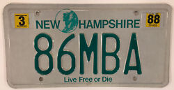 Vanity 1986 Mba License Plate Graduation Class Master Business Administration Nh