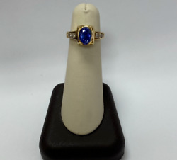 18k Yellow Gold Sapphire Ring With Diamonds