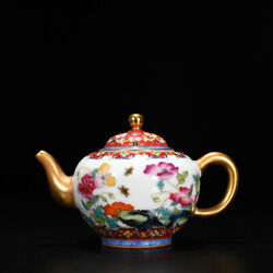 5.5 Porcelain Chinese Yoongzheng Mark Colour Enamels Flower Butterfly Teapots