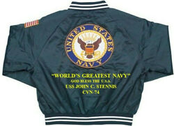 Uss John C. Stennis Cvn-74 God Bless The Usa Embroidered 1-sided Back Only