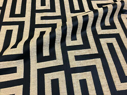 Upholstery Chenille Geometric Drapery Home Fabric Dark Navy Blue By the Yard