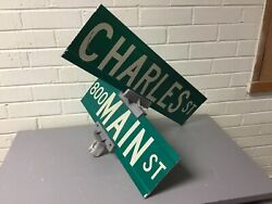 Vintage Authentic Main St And Charles St Double Street Sign With Bracket Great