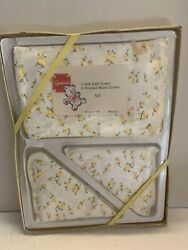 Vintage Baby Hooded Bath Towel And 2 Washcloths New In Box Set Spenser Yellow Rose