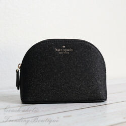 NWT Kate Spade Lola Glitter Small Dome Cosmetic Bag Clutch in Black $29.95
