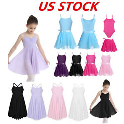 US Girls Ballet Dress Kids Dance Gymnastics Tutu Skirts Lyrical Straps Costumes