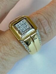 Men's 14k Heavy Solid Gold, 1.00 Ct Diamonds Big And Chunky Ring Make Offer