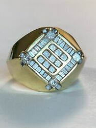 Men's 14k Heavy Solid Gold, 1.50 Ct Diamonds Big And Chunky Ring Make Offer