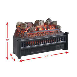 23 Black Resin Fireplace Realistic Flame Led Electric Logs Set Home Room Heater