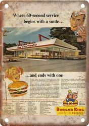 Burger King Wopper Vintage Ad 12 X 9 Reproduction Metal Sign N479