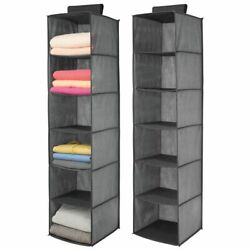 mDesign Fabric Over Closet Rod Hanging Organizer 6 Shelves 2 Pack Dark Gray
