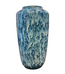 Unusual Huge Scheurich Blue And White Fat Lava Ceramic German Vase, About 1970