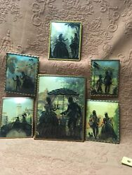 6 Vintage Victorian Silhouette Convex Glass Pictures Various Sceneries Nice