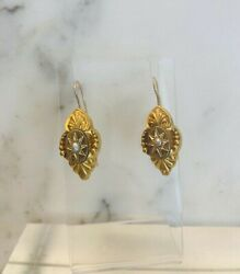 Antique 14 Kt Victorian W/ A Seed Pearl Drop Earrings.